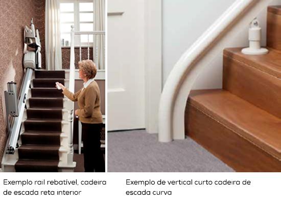 Exemplo rail rebatível, cadeira de escada reta interior e Exemplo de vertical curto cadeira de escada curva